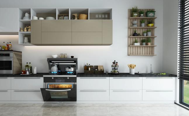 现代开放厨房集成灶