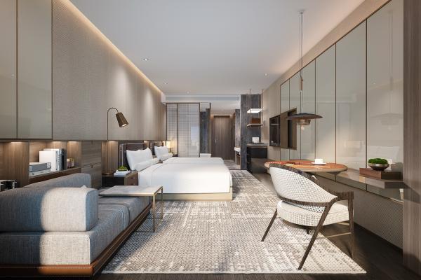 现代酒店卧室淋浴间