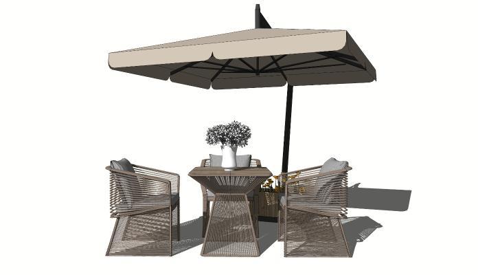 现代户外休闲桌椅 太阳伞桌椅 藤编休闲椅