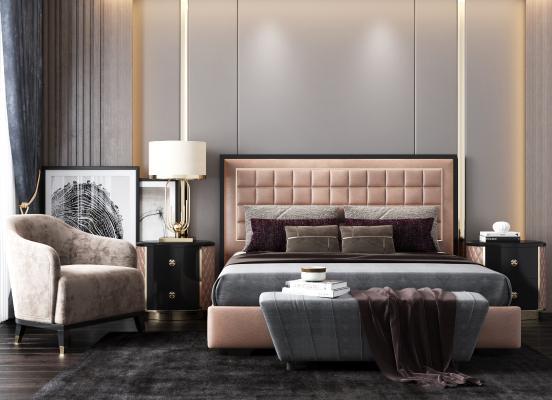 现代床组合 休闲椅 床头柜