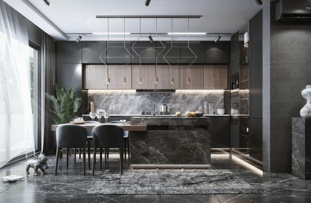 现代风格开放式厨房餐厅 厨房 摆台