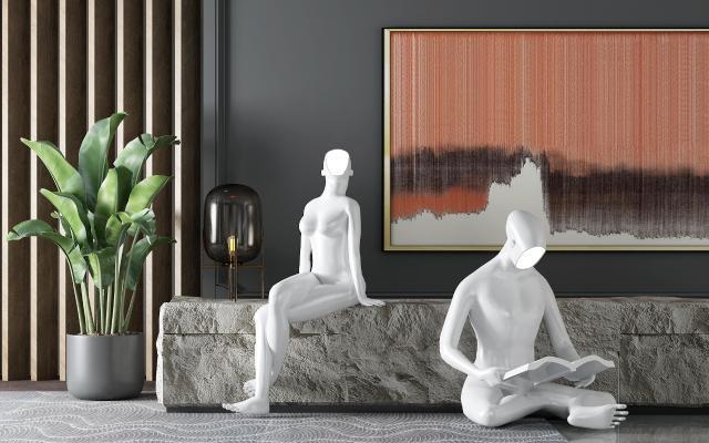 后现代人物雕塑 盆栽 异型灯