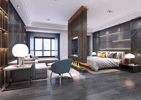 现代风格酒店套房 沙发茶几 隔断