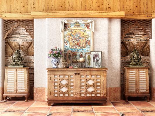 东南亚玄关装饰边柜扇子装饰摆件组合