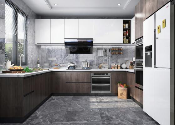 现代风格厨房橱柜 冰箱 油烟机