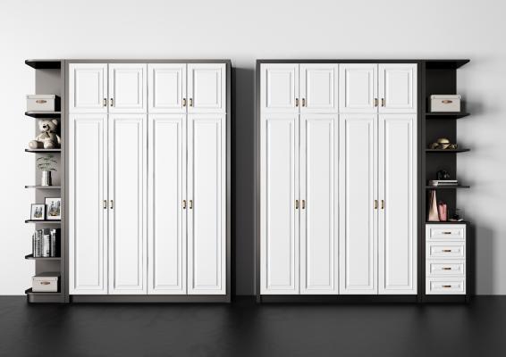 现代实木衣柜 装饰 金属