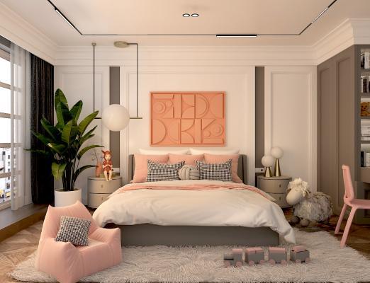 现代风格卧室 儿童房