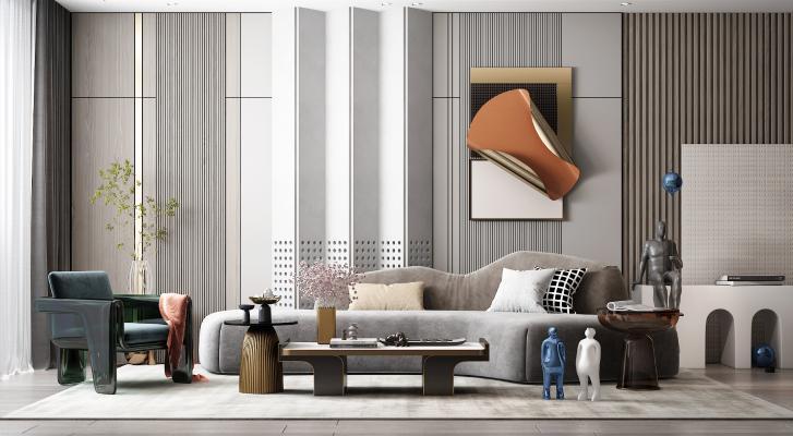 现代客厅 背景墙 沙发
