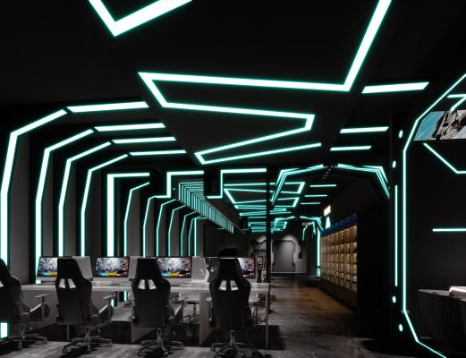 现代简约网咖,网咖大厅,网吧,竞技电脑,竞技大厅,酒柜饮料,大厅,大堂,