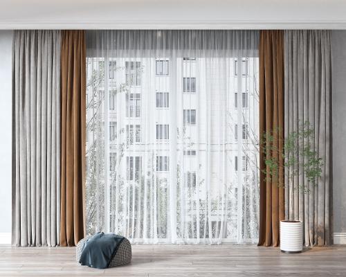 现代窗帘 绿植 盆栽