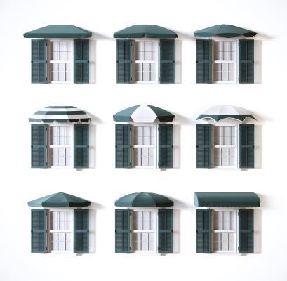 现代雨棚 遮阳棚 窗户组合
