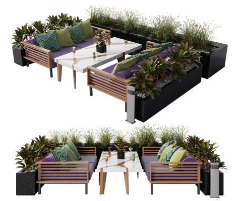 现代露天沙发茶几组合 户外沙发卡座 餐厅 沙发 茶几