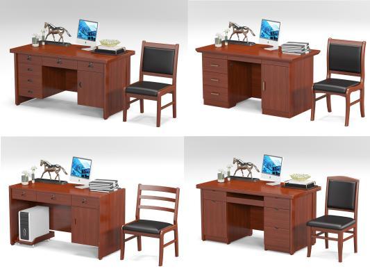 新中式办公桌椅组合