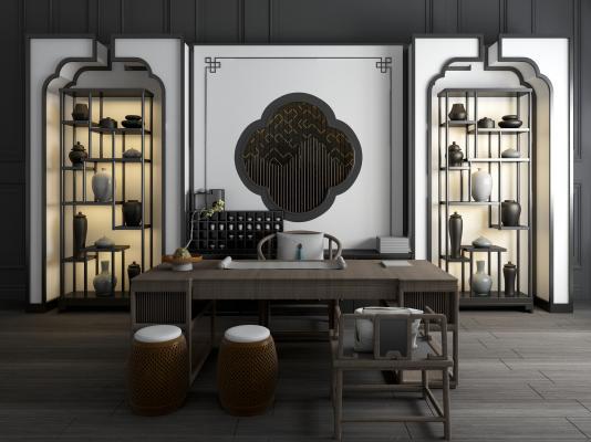 新中式书桌椅书柜组合 书架 个性书桌