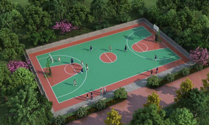 現代篮球场 运动场