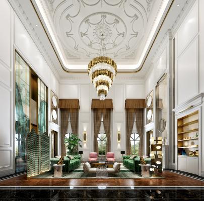 古典客厅 沙发组合 茶几