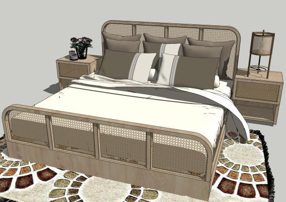 现代木质床具 床头柜