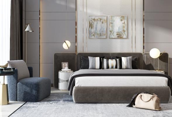 现代床 床头柜 沙发