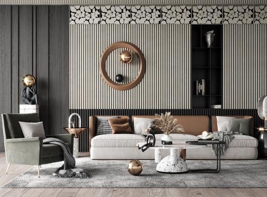 現代客廳 茶幾 沙發 邊幾 單人沙發 臺燈