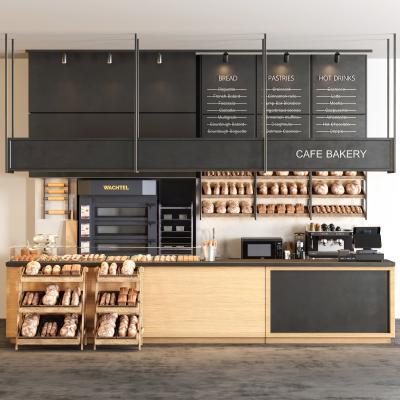 工业风咖啡厅 吧台 甜品 咖啡机