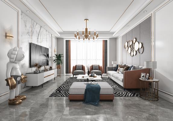 现代客厅餐厅 沙发 餐桌 电视柜 吊灯 装饰画