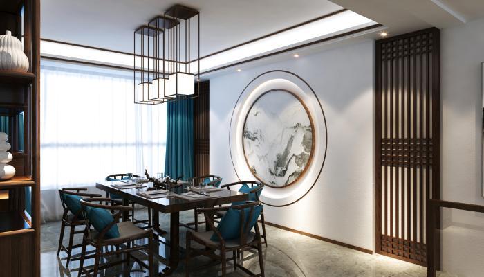新中式餐桌椅 吊灯 边柜