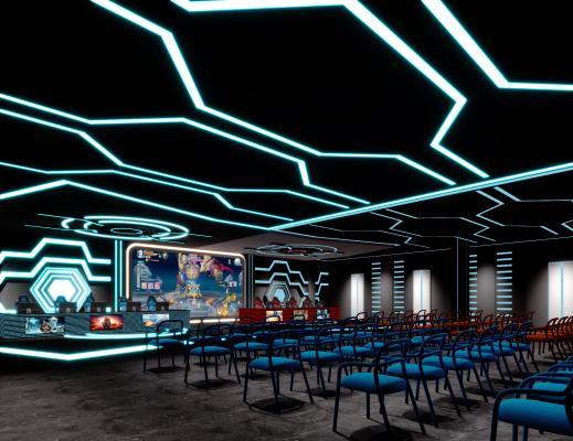 现代网咖 电竞厅 椅子 电脑 比赛大厅 电竞桌子 电竞