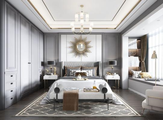 美式臥室 床 衣柜