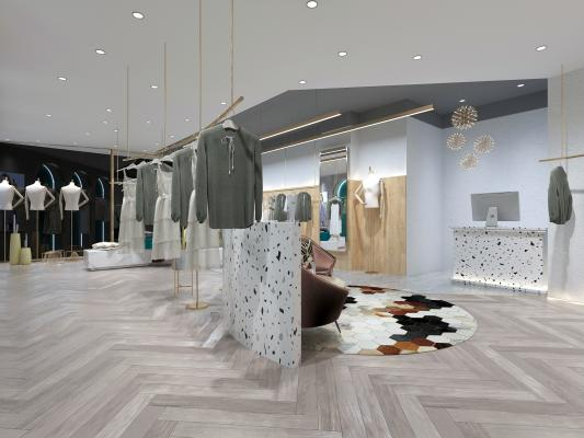 现代轻奢服装店 女装 衣服 裙子 摆件 挂件 服装店休息区 休闲区