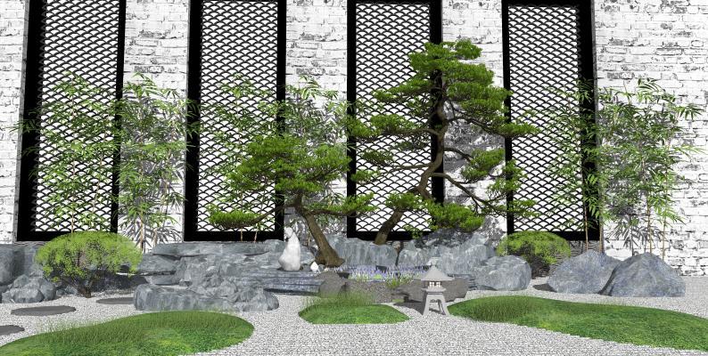 新中式庭院景观 假山石头 景观松树