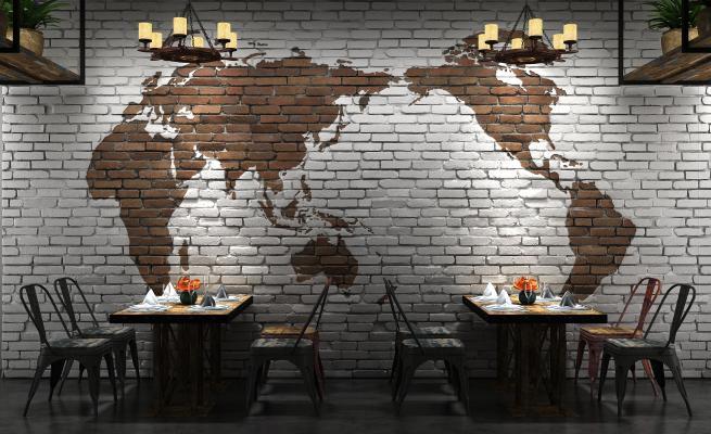 工业风餐厅餐饮 世界地图砖墙