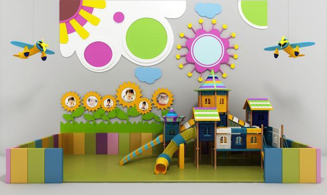 现代幼儿园游乐区 滑梯 背景墙