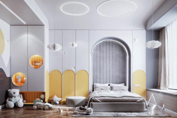 现代风格儿童房 床 衣柜