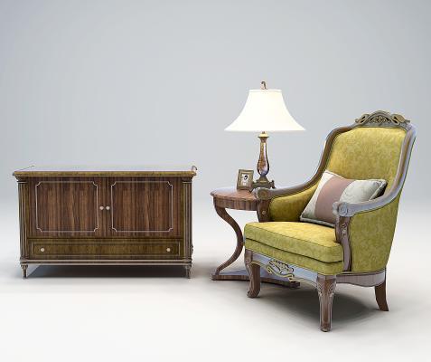 美式欧式装饰柜,单人沙发
