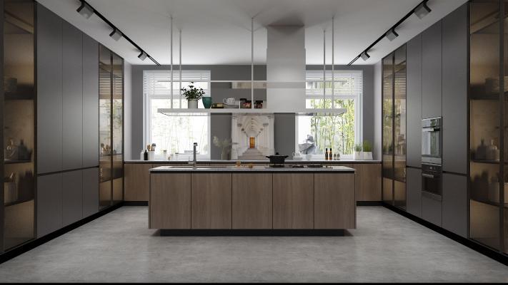 工业风厨房 橱柜 厨房用品
