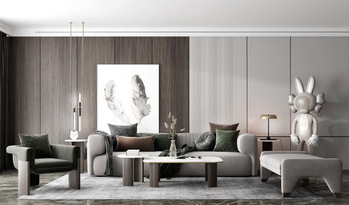 现代客厅 多人沙发 双人沙发 凳子 台灯 吊灯 茶几 角几