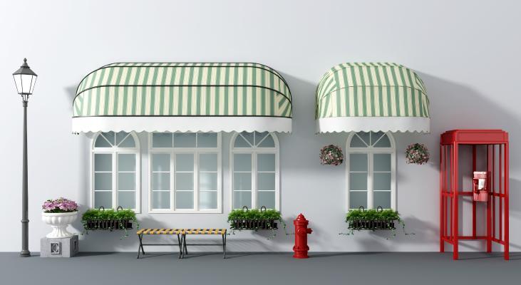 北欧雨棚 电话亭 休闲椅 花钵 消防栓