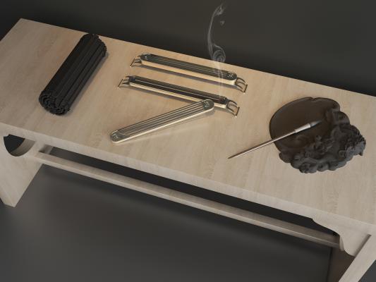 新中式香炉 砚台 毛笔