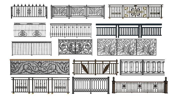 现代铁艺护栏 栏杆 围栏