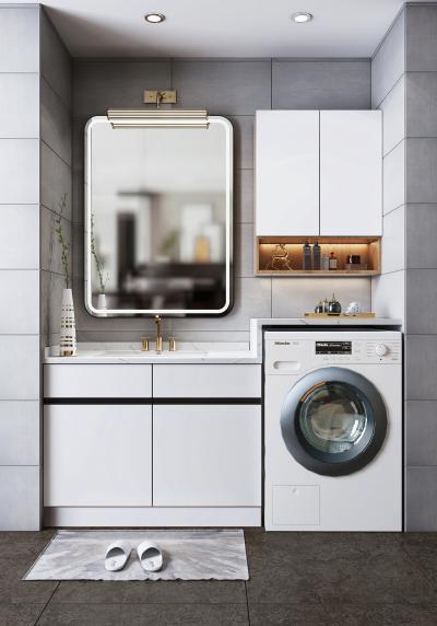 现代卫浴柜 洗衣柜 台盆 洗衣机