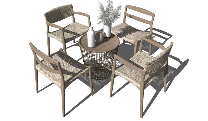 现代户外休闲桌椅 休闲椅 藤编户外单椅椅子