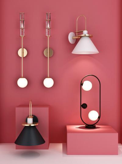 现代金属灯具组合