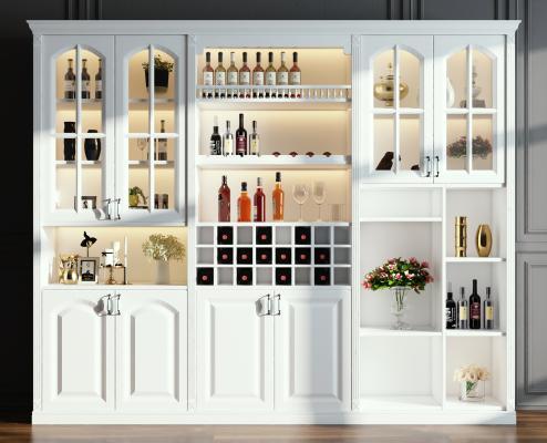 现代欧式酒柜摆件组合