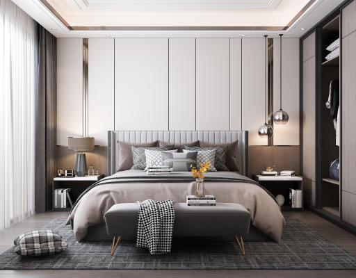 现代卧室 主人房 吊灯 双人床