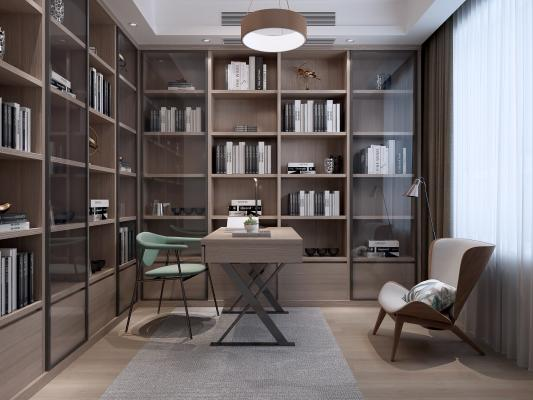 现代书房 书架 吊灯