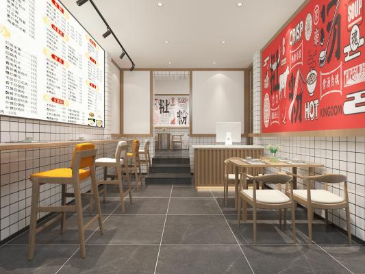 现代餐馆 收银台 桌椅