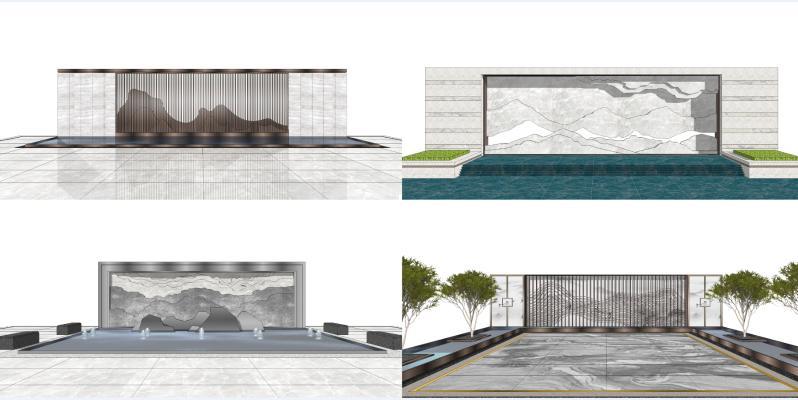 新中式山水景墙