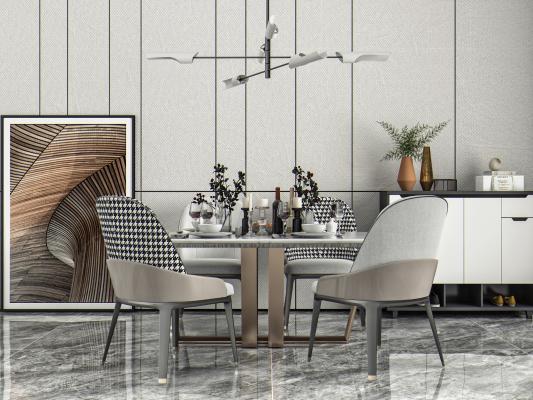 现代风格餐桌椅 吊灯