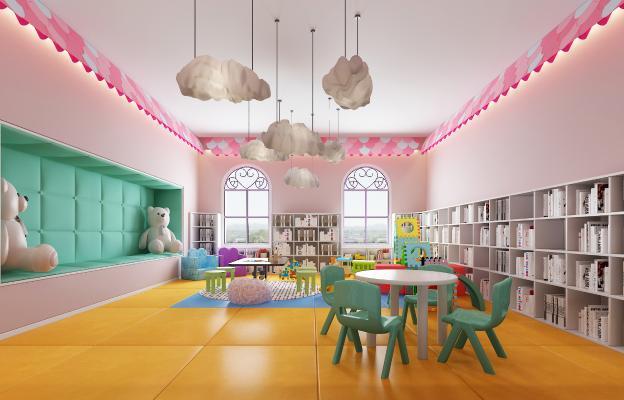 现代幼儿园活动室 吊灯 书柜