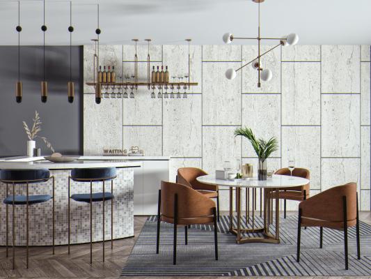 现代餐桌椅 吧椅组合